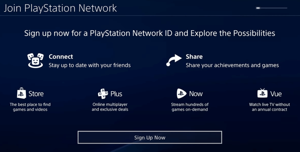 Create PlayStation network on PS4