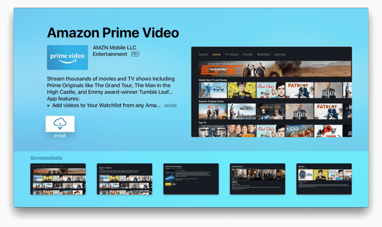 Select Install button to Watch Amazon Prime on Apple TV