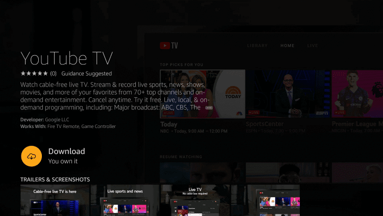 Download YouTube TV