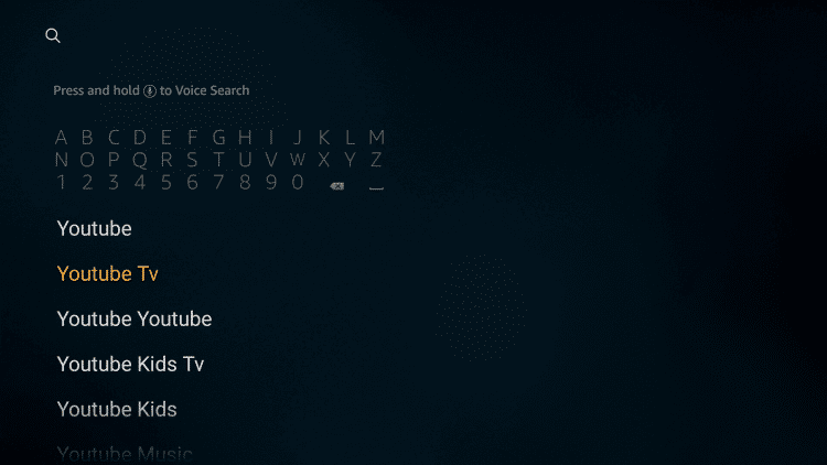 Search YouTube TV