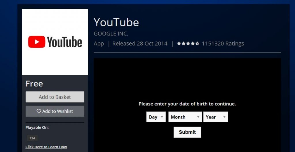 YouTube on PlayStation