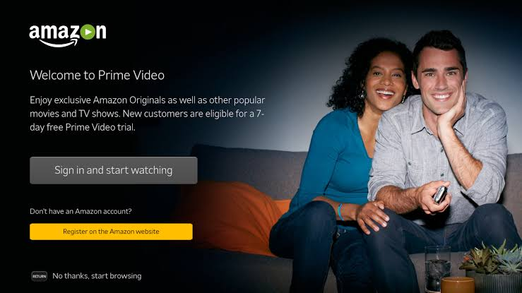 Prime Video on Tivo Stream 4k- click the sign in and start watching option