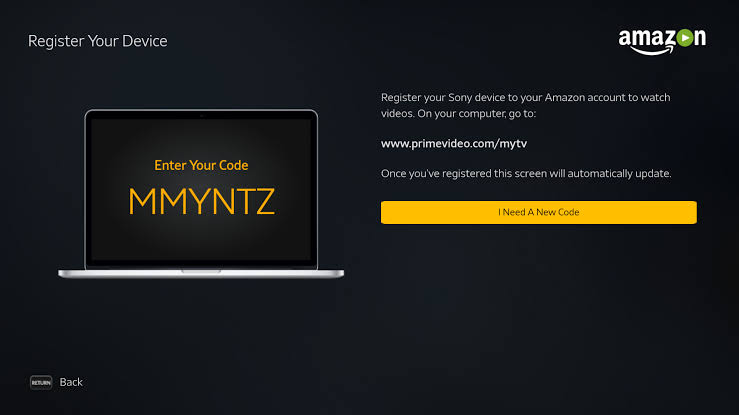 Prime Video on Tivo Stream 4k. code and activation link appears.