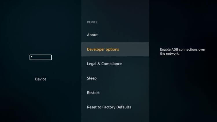 enable the Apps from Unknown Sources on Amazon Firestick