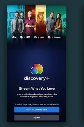 Discovery Plus on Sony Smart TV- click free trail