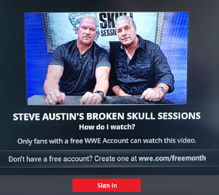 Sign in to WWE Network