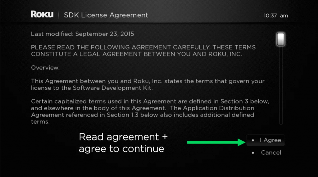click on I Agree to get channel PEAR on Roku