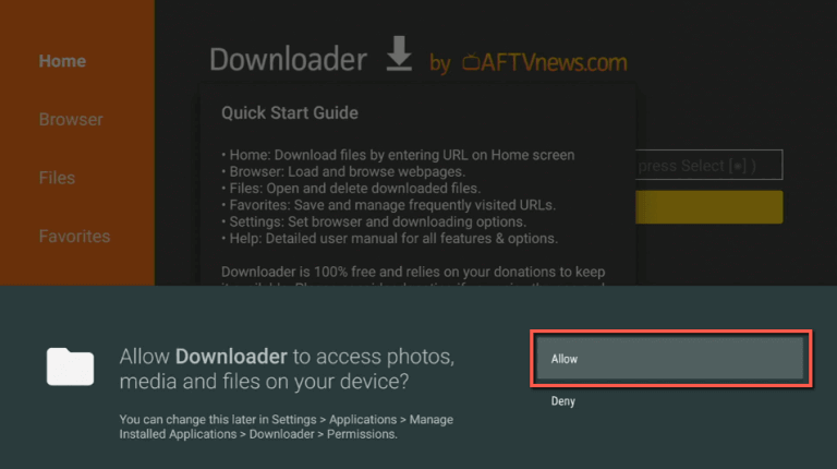 allow to access files and media