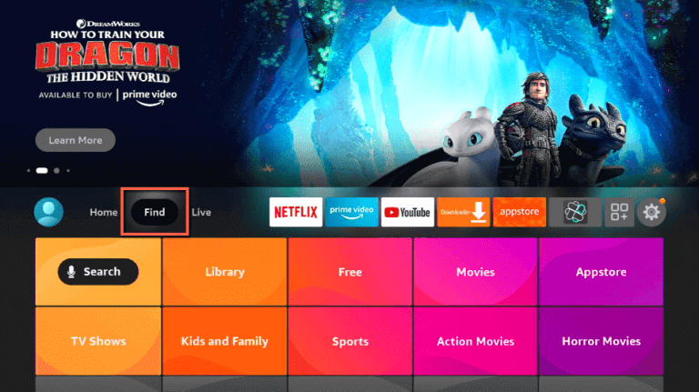 click on Find to install Fios TV on Firestick