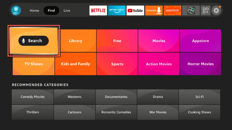 click on Search to install Fios TV on Firestick