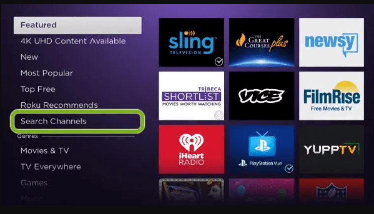 click on search channels to watch SYFY on Roku