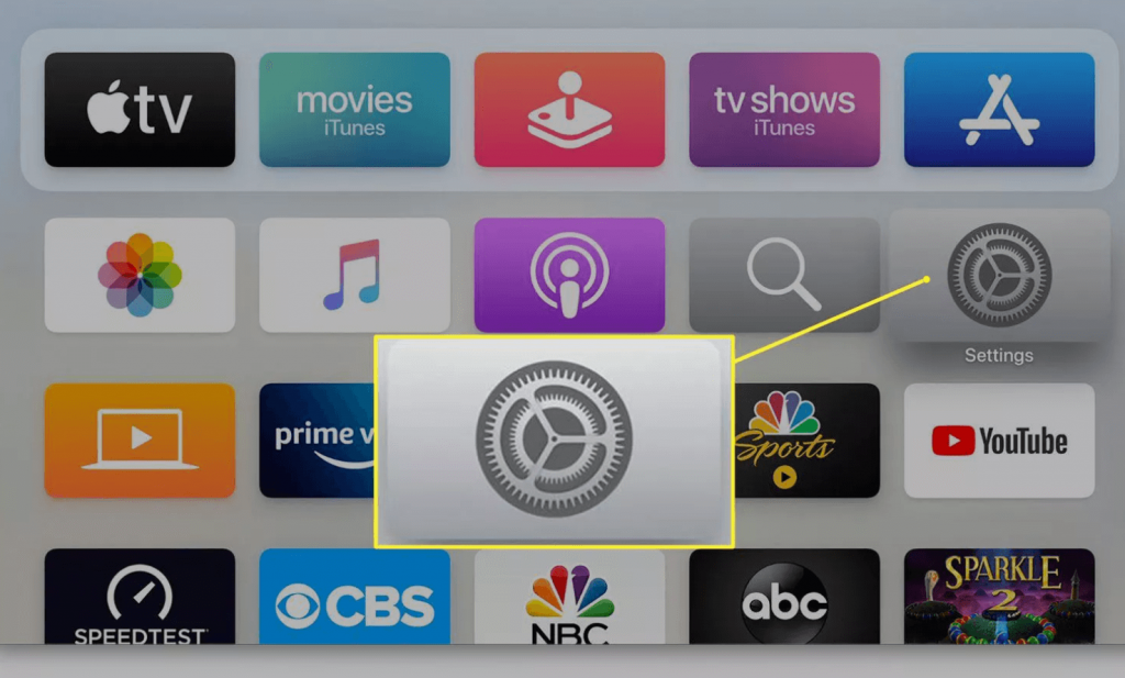 click on Settings to connect HomePods to Apple TV