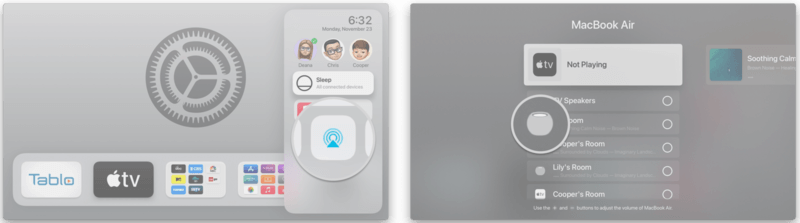 click on the Airplay icon to connect HomePods to Apple TV