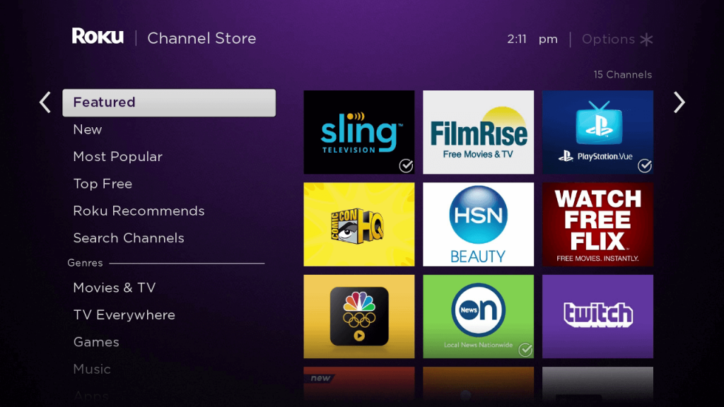 click on search channels to install AT&T TV on Roku