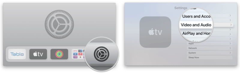 click on video and audio to calibrate apple tv with iPhone
