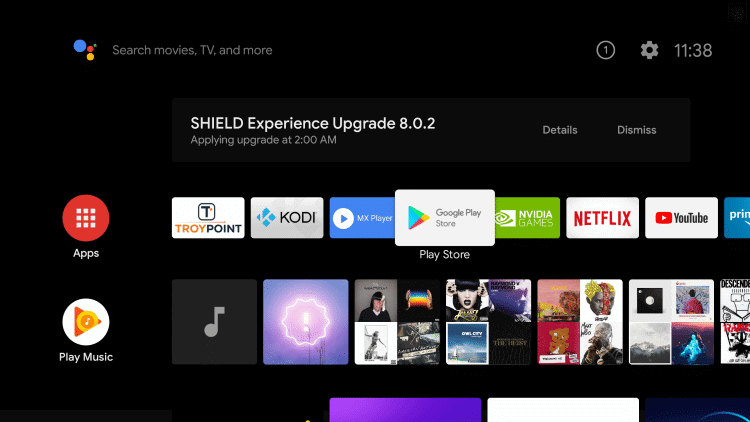 open Play Store to install apple tv on nvidia shield
