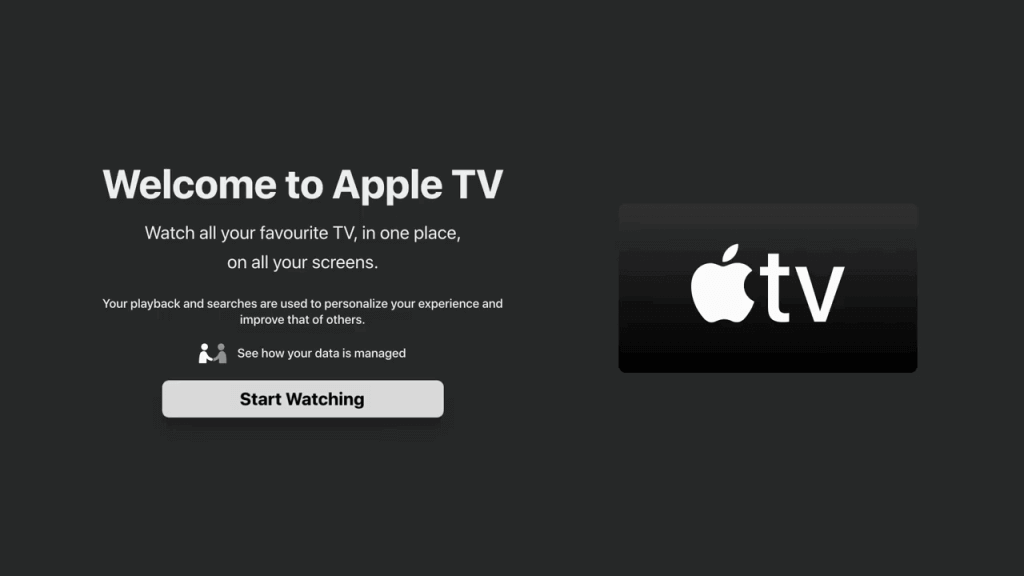 click on Start watching to install apple tv on nvidia shield