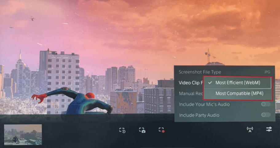 select the file format to record gameplay on ps5