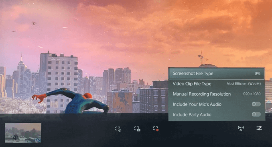 select the required resolution to record gameplay on ps5