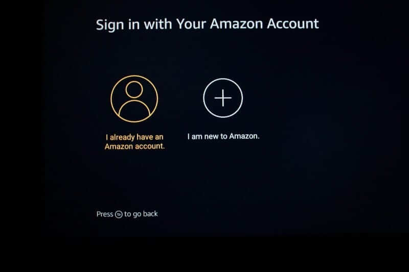 Sign in with your Amazon account to set up Firestick