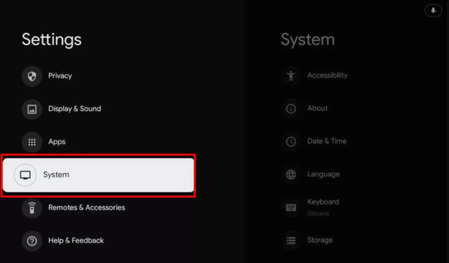 click on System to install TV Land on Google TV