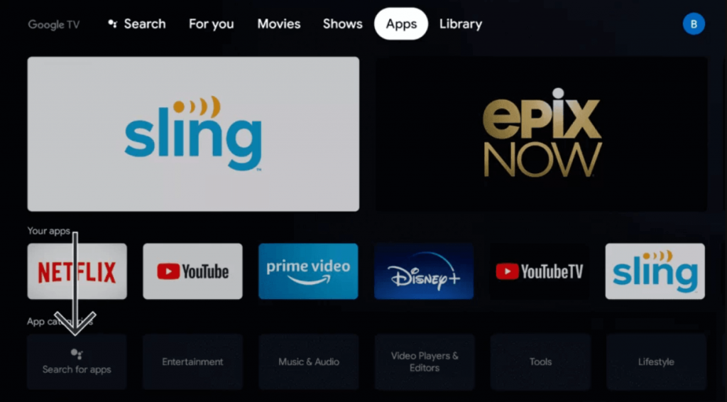 click on search for app to stream TV Land on Google TV