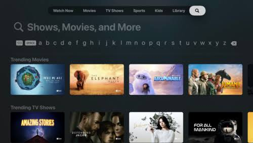 Search AT & T TV on Apple TV