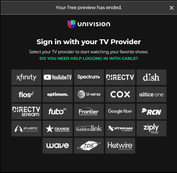 Sign in to Univision