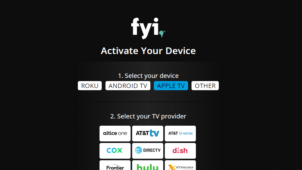 Choose device and TV provider