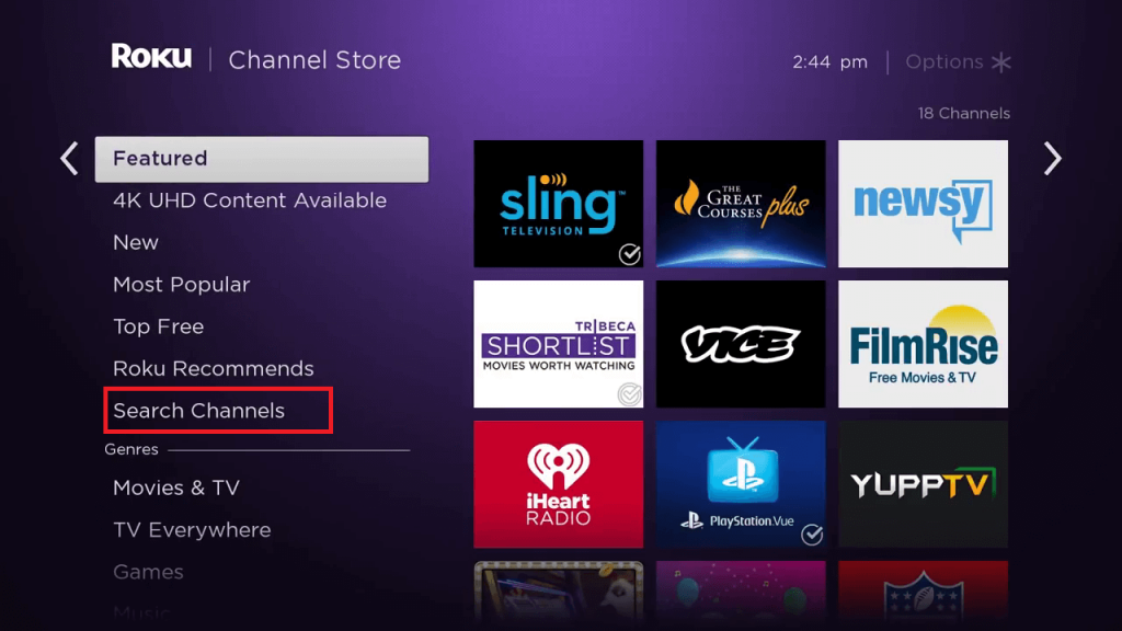 Select Search Channels to search for MotorTrend on Roku TV.