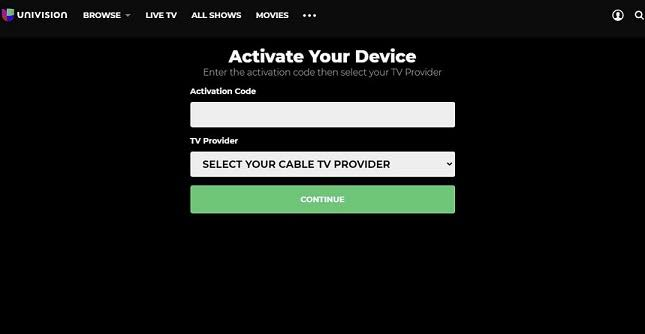 Activate Univision on Google TV