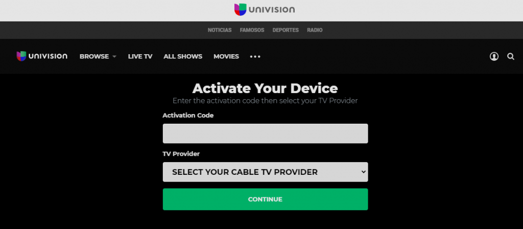 Activate Univision on Roku