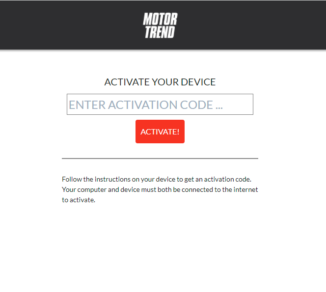Enter the Activation Code to stream MotorTrend TV on Google TV.