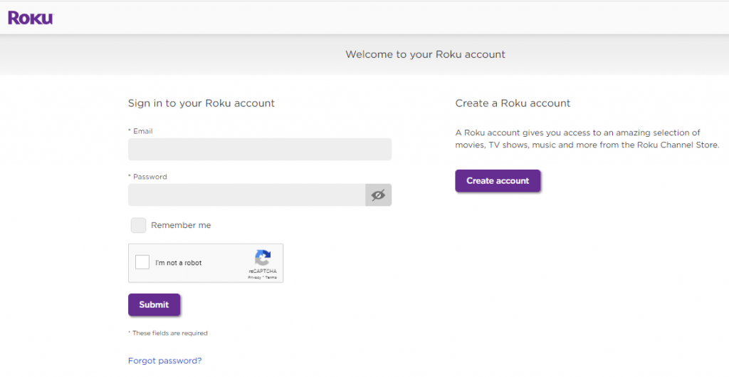 Sign in to Roku account.