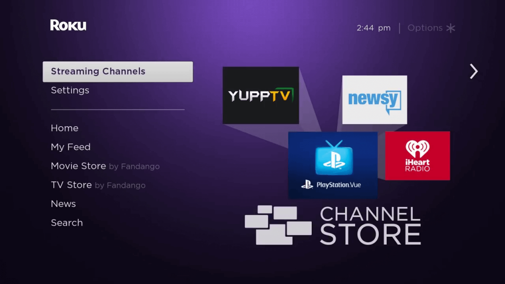 Select the Streaming Channels option.