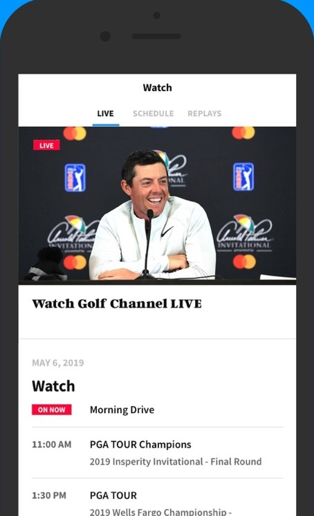 Select a show to stream the Golf Channel on your Apple TV.